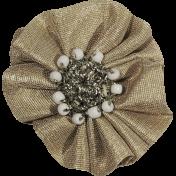 Jane- Tan Ruffled Fabric Flower