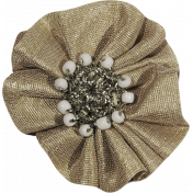 Jane- Tan Ruffled Fabric Flower