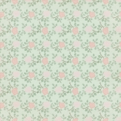 Jane- Green Paper With Soft Pink Roses