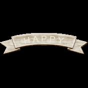 Rustic Charm Feb 2015 Blog Train Mini Kit- Wood Banner Wordart- Happy