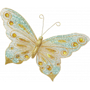 Shine- Teal and Gold Butterfly