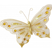 Shine - White & Gold Butterfly