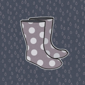 Cozy Day Journal Card- Rain Boots (4x4)