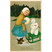 Vintage New Years Cards- Sled