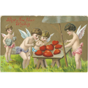 Vintage New Years Cards- Cherubs