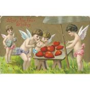 Vintage New Years Cards- Cherubs