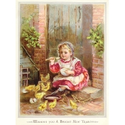 Vintage New Years Cards - Girl with Chicks