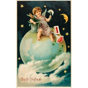 Vintage New Years Cards- Globe