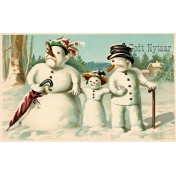 Vintage New Years Cards- Snow Family
