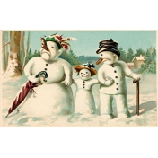 Vintage New Years Cards- Snow Family (No Words)