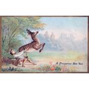 Vintage New Year Cards- Deer