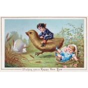 Vintage New Years Cards- Children with Chick