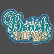 Beach Please Frayed Sticker