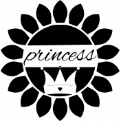 Princess word-art in sunflower- digital stamp.