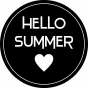 """""""Hello summer"""" WordArt in a circle, with heart."""