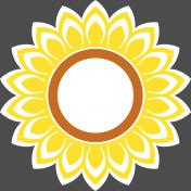 Sunflower sticker- with a white border