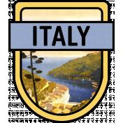 Italy Word Art Crest 2
