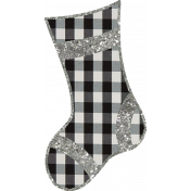 Christmas Gingham Plaid- Stocking 1-Gingham-Silver