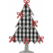 Christmas Gingham Plaid- Tree 2-Gingham-Silver-Bows
