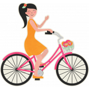Love At First Sight-Pink Bicycle Girl Sticker