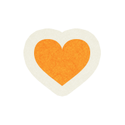 Love At First Sight- Sticker Orange Heart