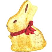 Gold Chocolate Bunny Impressionist Style