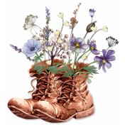 Walking boots with flowers
