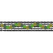 Ribbon – Waved Green Flowers-Leaves