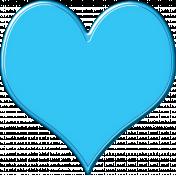 Glossy Plastic/Enamel Heart Aqua