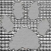 Cardboard Paw Print 01 Gray