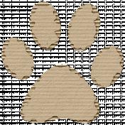 Cardboard Paw Print 01 Kraft