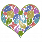 Multicolored Quilled Heart (no shadows)