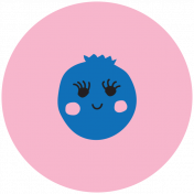 Cute Fruits Print Circle Blueberry