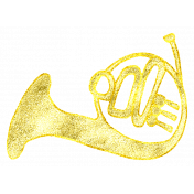 Art School Glitter Music Doodle French Horn