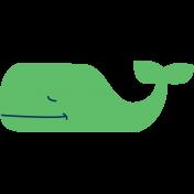 Oceaside Print- Whale- Sticker Green