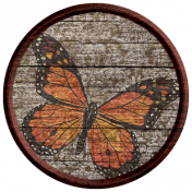 Seriously Butterflies Elements- Round Wooden Brad 01