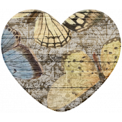 Seriously Butterflies Elements- Wood Heart 02