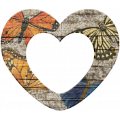 Seriously Butterflies Elements- Wood Heart Frame