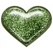 Home For The Holidays Elements- Glitter Heart Green