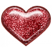 Home For The Holidays Elements- Glitter Heart Red
