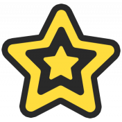 Granny Punk Elements- Print Sticker Star Yellow