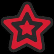 Granny Punk Elements- Print Sticker Star Red