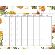Seriously Floral 2 Calendars- May Floral Calendar 8x11 Blank