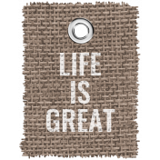 Burlap Word Tags Kit - life is great