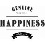 Label 2- Genuine Happiness- Here & Now Word Art Template
