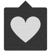 Label 105 Black & Gray Heart- Here & Now Word Art