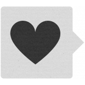 Label 105 Gray & Black Heart- Here & Now Word Art