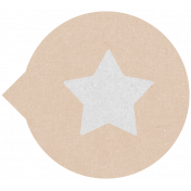 Label 106 Circle Star Tan- Here & Now Word Art