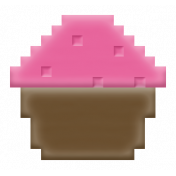 Video Game Valentine Rubber Stamp- Cupcake