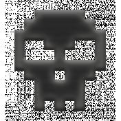 Video Game Valentine Rubber Stamp- Skull Black